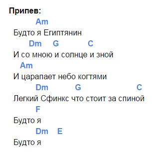 египтянин аккорды 2