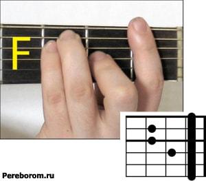 Как ставить аккорд F