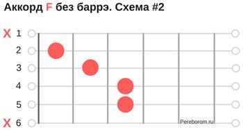 аккорд f без баре 2