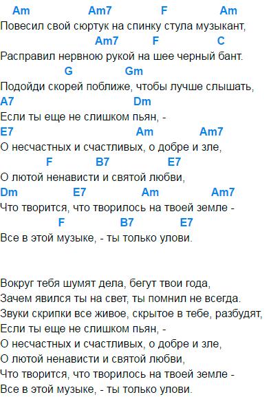 никольский музыкант аккорды