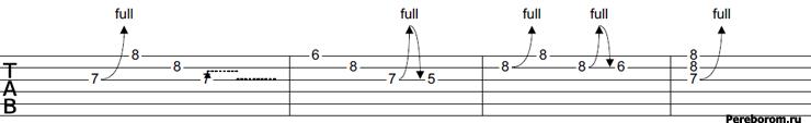 Бенд -подтяжка (Bend) - как читать табы
