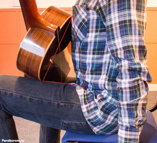 как держать гитару сидя 1