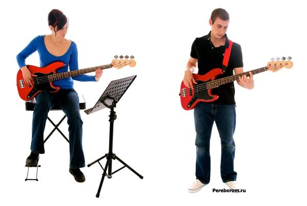 правильно держать бас гитару