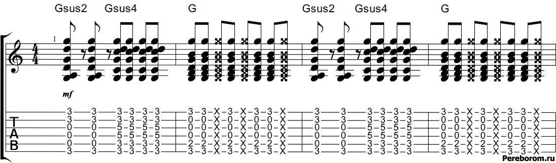 Последовательность Gsus2