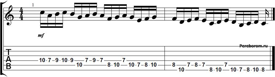 Упражнение для игры гаммы Ля-минор #2