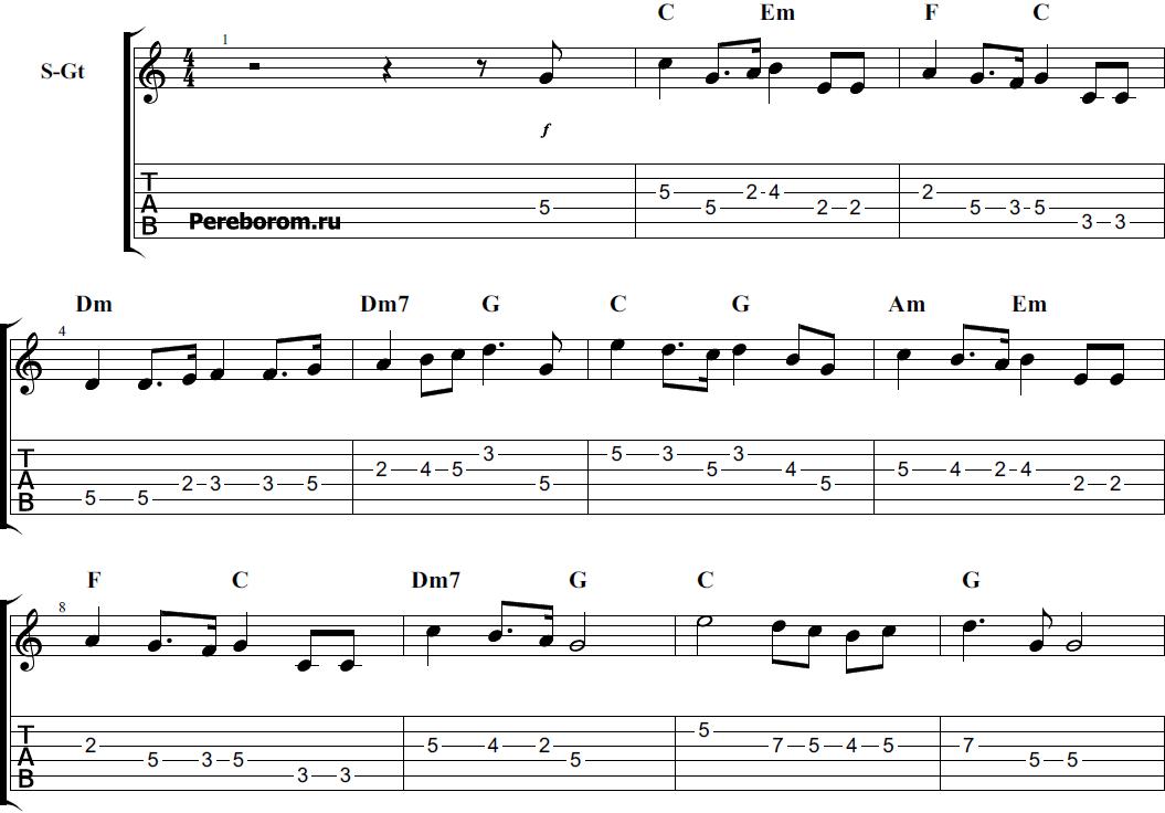 гимн россии табы