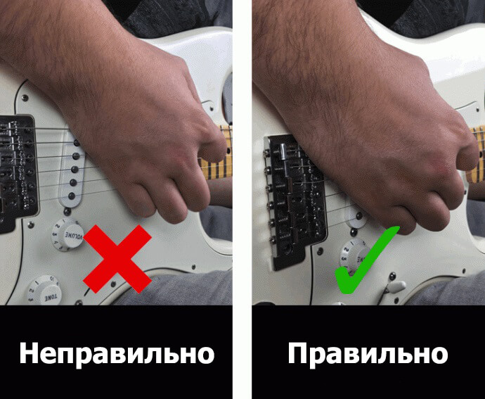 как глушить струны на электрогитаре