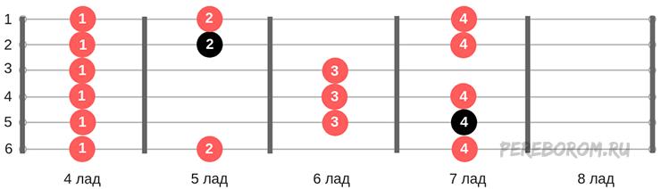 Гамма Ми-мажор на гитаре